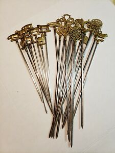 Vintage Brass and Steel Kebab Skewers Set of 16 and set of 8 Turkey Germany