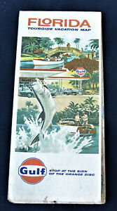 Vintage 1973 Gulf Gas Station Florida Roadmap Fishing Cover Great Graphics