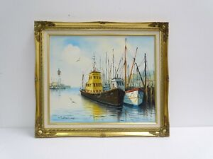 Vintage Oil Painting on Canvas Of Harbor Scene And Lighthouse Signed W. Dirkson $149.00