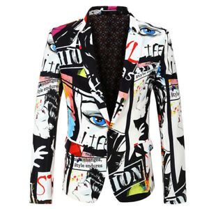 Mens Suit Coat Casual Slim Formal One Button Blazer Jacket Tops Fashion Casual $32.08