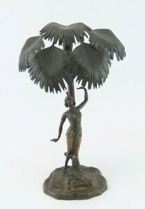 Antq Early 1900s Austrian Cold Painted Bronze Arabian Ottoman Dancer under Palms $1000.00