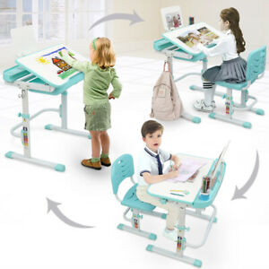 Study Desk amp; Chair Set Home Drawing Writing Reading Tool For Kids Children Green