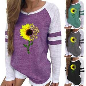 Womens Sunflower Printed Long Sleeve T Shirt Loose Blouse Tops Pullover Shirts $17.66