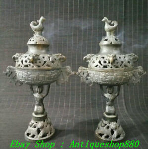 12quot; Old China Bronze People Phoenix Head Incensory Incense Burner Censer Pair $380.00