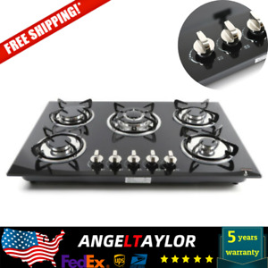 Tempered Glass Stove Built in 5 Burners Cooktop NG LPG Gas Hob Cooker 30quot; US NEW
