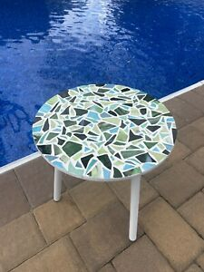Handcrafted Mosaic Green Blue And White Table