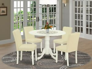 5pc dinette kitchen dining set round pedestal table 4 parsons chairs off white