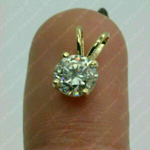 2.91Ct Round cut Solitaire Diamond Pendant Solid 14K Yellow Gold No chain
