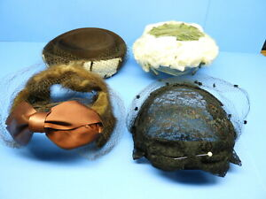 4 VTG 1940#x27;S WOMAN HATS FEATHERS FUR GLENOVER NEW YORK UNION MADE HENRY POLLAK
