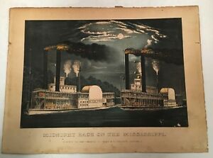 ANTIQUE CURRIER amp; IVES LITHOGRAPH PRINT MIDNIGHT RACE ON THE MISSISSIPPI 1875 $699.95