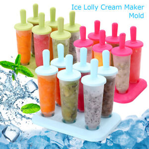 6 Cell FrozenIce Cream Maker Popsicle Mold Muiticolor Set Tray and Drip Guard