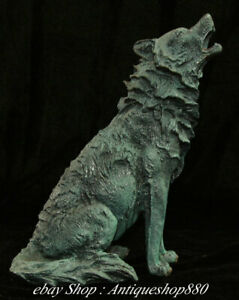 quot; China Bronze Painting Wolf Wolves Sirius Bleeding Wolves Animal sculpture $480.00