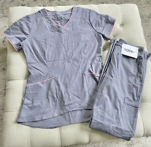 NWT Scrub Set Women's Allure White Cross Pewter Size Small S XS Yoga Stretch
