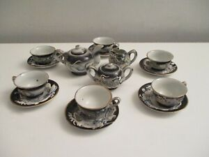 Vintage MiniatureJapanese Gray Moriage Dragonware Tea Set Complete in Box Nice