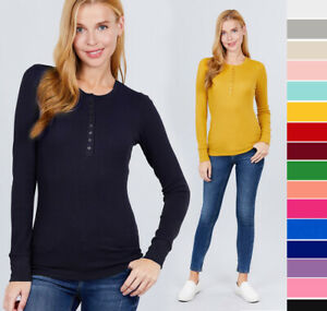Women#x27;s Cozy Thermal Henley Shirt Top Stretch Cotton Long Sleeve Pullover Basic