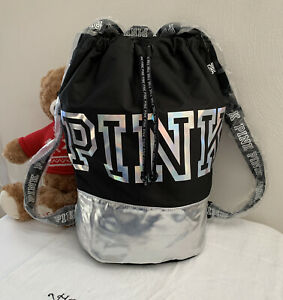 VICTORIA SECRET PINK BACKPACK Book Bag Travel Drawstring Nylon Black SCHOOL TOTE $39.95