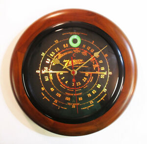 Old Antique Style Zenith Black Dial Wood Wall Clock Vintage Tube Radio Style $44.95