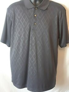 2 Under Mens Polo Shirt Size L Gray Diamond Pattern Front Short Sleeve Polyester $10.39