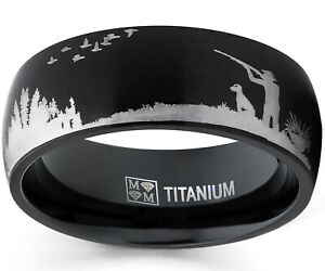 Men Black Titanium Ring Wedding Band with Laser Etched Bird Duck Hunting