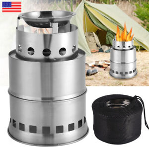 Stainless Steel Camping Stove Wood Burner Travel Hiking Outdoor Picnic Cookware