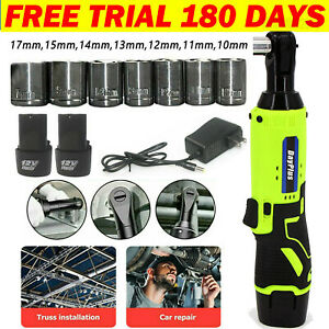 3 8#x27;#x27; Cordless Ratchet Right Angle Wrench Impact Power Tool 2 Battery amp; 7 Socket $55.87