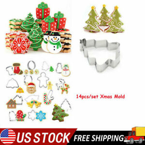 14PCS Christmas Biscuit Mold Santa Claus Snowflake Tree Cake Cutters Mould Set $10.44