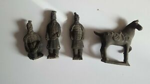 Vintage Terracotta Army Warrior amp; Horse Sculptures Chinese Set of 4Qin Shi Huang $51.29