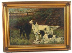 """antique oil painting gold picture frame sporting dogs 1920 12"""" X 18"""" $675.00"""