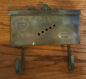 Old Vintage Antique Brass Mailbox With Newspaper Hooks Crown $47.50