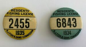 1934 amp; 1935 Fishing License Resident Button PINS RARE