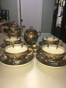 Antique 13pc Japanese Satsuma Immortals Dragon Gold Gilt Porcelain Tea Set