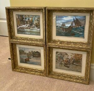 Lot of FOUR Lionel Barrymore Nautical Color Foil Etchings Prints Framed boats $28.00
