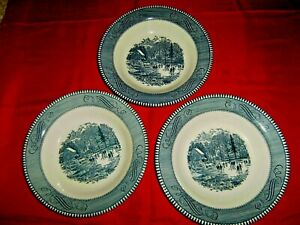 3 Vintage CURRIER amp; IVES Early Winter 8 1 2 inch Bowls with Rims $25.00