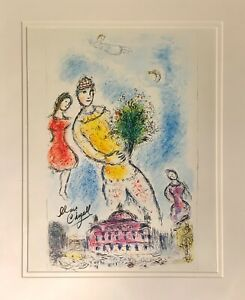 hand signed Chagall matted vintage 1981 lithograph; Dali Picasso Warhol era $225.00
