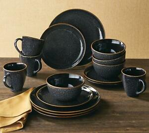 Dinnerware Set 16 piece Dishes Plate Mug Vintage Classic Modern Service Black $58.99