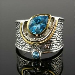 Unique Sterling Silver with Blue Sapphire Tear Drop Ring. Size 678910