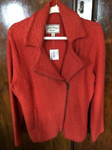 Lucky Brand Red Orange Thick Knit Moto Jacket Size 1X $39.99