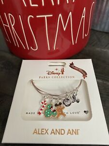 New 2020 Disney Parks Alex and Ani Christmas Holiday Snack Icons Silver Bangle $74.99
