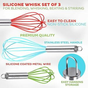 3Pcs Stainless Steel Hand Whisk Set Wire Kitchen Baking Tool SILICONE Set NEW