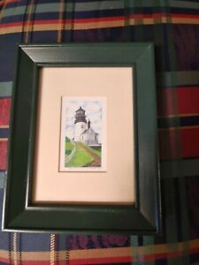 Cape Disappointment Lighthouse Signed Miniature Print Framed $7.00