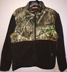 Realtree Full Zip Fleece Dark Brown Jacket Mens Size 2XL