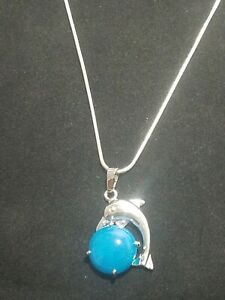 Blue Onyx Dolphin Necklace Gemstone Pendant on Sterling Silver Chain