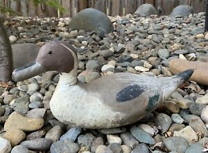 Old Antique Canvas Duck Decoy 15 1 2 inch Hand Painted w Lead on Bottom Vintage $825.00