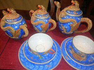 VINTAGE JAPANESE SATSUMA TEA SET 15 PCS DRAGONBlue YELLOW PORCELAIN