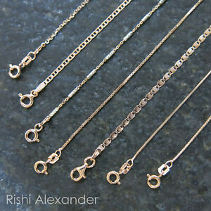 REAL Unique Rose Gold Jewelry SOLID Rose Sterling Silver Chain Italian Necklace