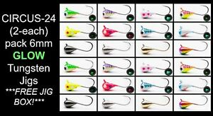 24pk 6mm Tungsten w Free Jig Tackle Box Ice Fishing and Fly Jig #8 hook Crappie