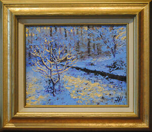 Winter backyard. Original framed oil on canvas 8quot;x10quot; impressionistic painting $150.00