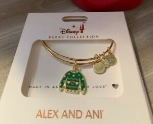 Disney Parks Authentic Alex and Ani Christmas Sweater Bracelet Gold NEW $19.89
