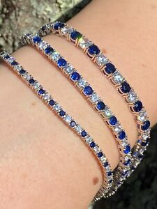 Tennis Bracelet SOLID 925 Sterling Silver Single Row Diamond amp; Blue Sapphire
