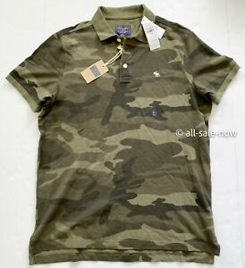 Abercrombie and Fitch Aamp;F Men#x27;s Army Green Olive Camo Camouflage Polo Shirt
